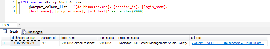 SQL Server - sp_WhoIsActive output_column_list