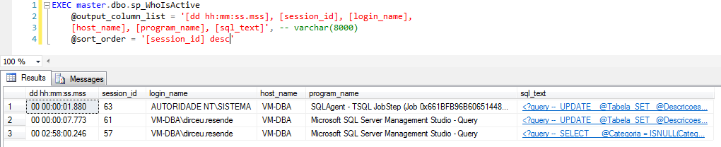 SQL Server - sp_WhoIsActive sort_order