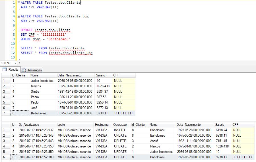 SQL Server - Trigger audit log data change history error 2