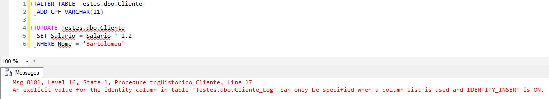 SQL Server - Trigger audit log data change history error