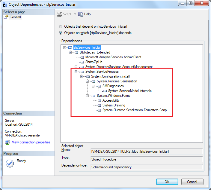 SQL Server - CLR Object Dependencies System.ServiceProcess ServiceController Class