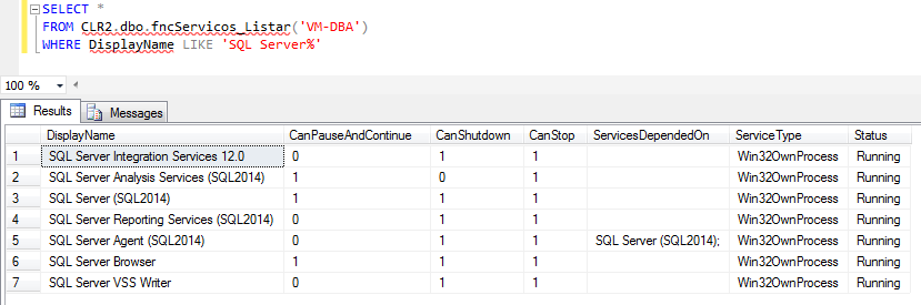 SQL Server - SC ServiceController Class CLR list windows services