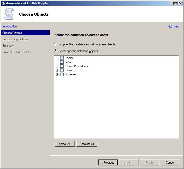 SQL Server - Tasks - Generate and Publish Scripts