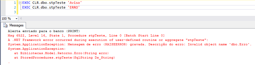 SQL Server - sql server clr c# csharp enviar avisos mensagens de erro warnings send text print error messages 2
